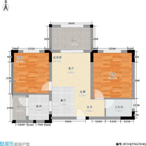 奇峰云邸2室0厅1卫1厨63.00㎡户型图