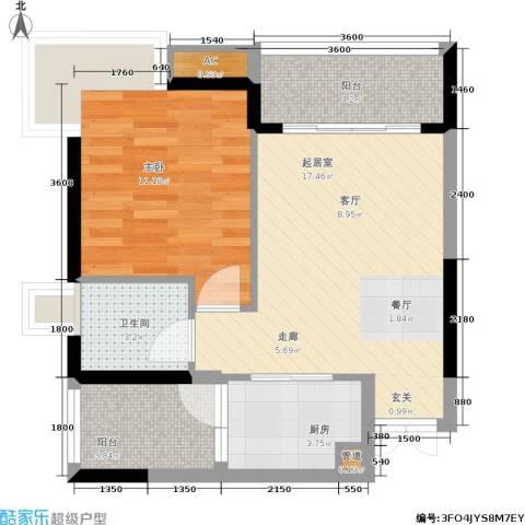 骏逸江南1室0厅1卫1厨64.00㎡户型图