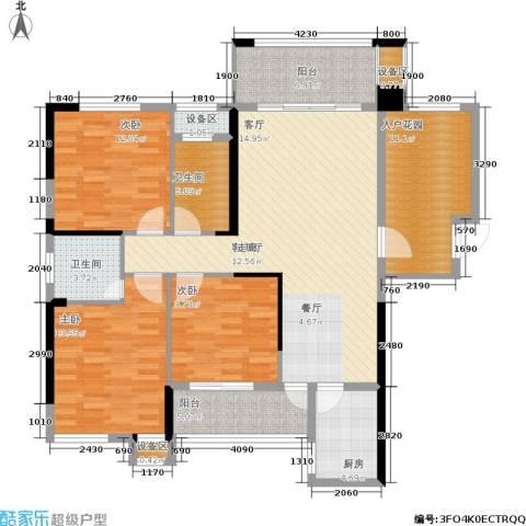 紫鑫御湖湾3室1厅2卫1厨115.00㎡户型图