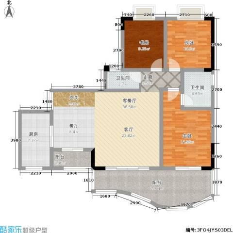 升伟新天地3室1厅2卫1厨110.00㎡户型图
