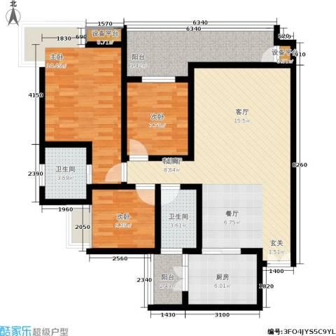 皇冠东和花园3室1厅2卫1厨111.00㎡户型图