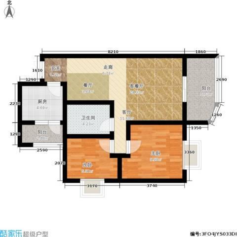 升伟新天地2室1厅1卫1厨68.00㎡户型图
