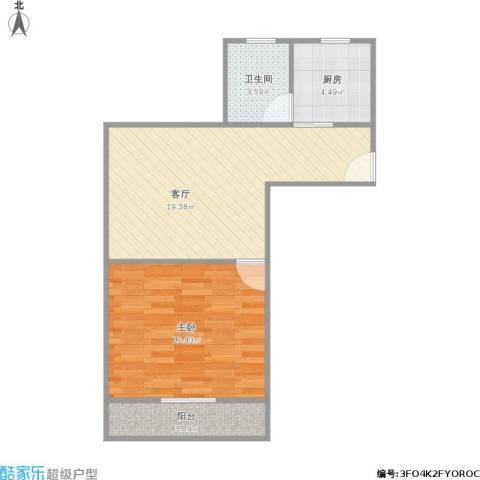 月浦七村1室1厅1卫1厨63.00㎡户型图
