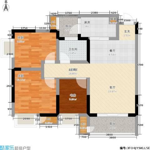 正源缙云山水3室0厅1卫1厨79.06㎡户型图