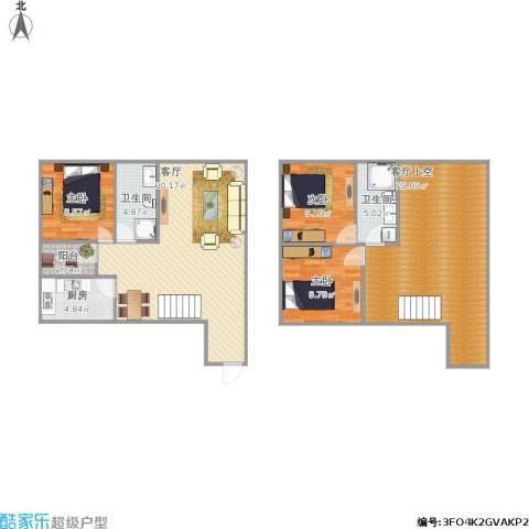 西安・恒大御景3室1厅2卫1厨140.00㎡户型图