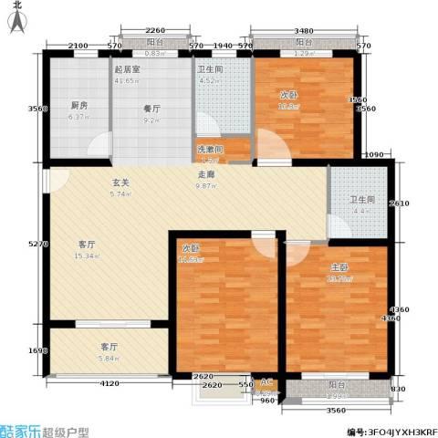 众众德尚世嘉3室1厅2卫1厨121.30㎡户型图