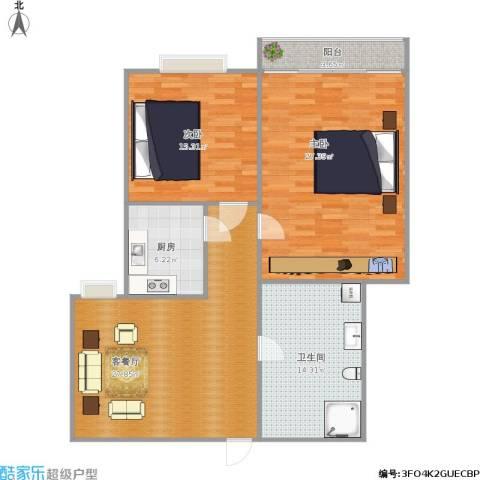 华阳新区2室1厅1卫1厨126.00㎡户型图