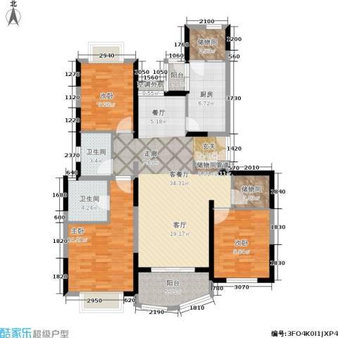 虹桥乐庭3室1厅2卫1厨110.00㎡户型图