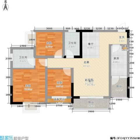青青雅舍3室0厅2卫1厨110.00㎡户型图