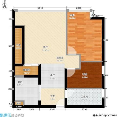 恒通云鼎国际公寓2室0厅1卫1厨77.00㎡户型图