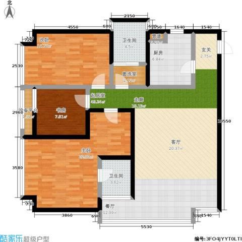 恒通云鼎国际公寓3室0厅2卫1厨127.00㎡户型图