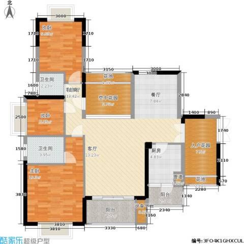 龙光城3室1厅2卫1厨118.00㎡户型图