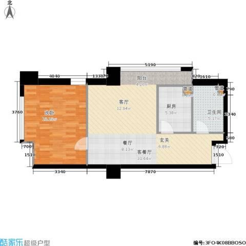 小寨金莎1室1厅1卫1厨85.00㎡户型图