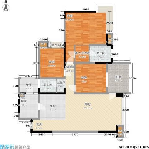 金辉融侨半岛云满庭C区3室1厅2卫1厨125.00㎡户型图