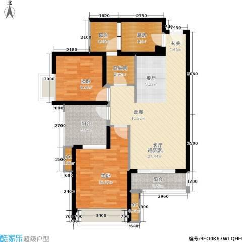金凤豪苑2室0厅1卫1厨86.00㎡户型图