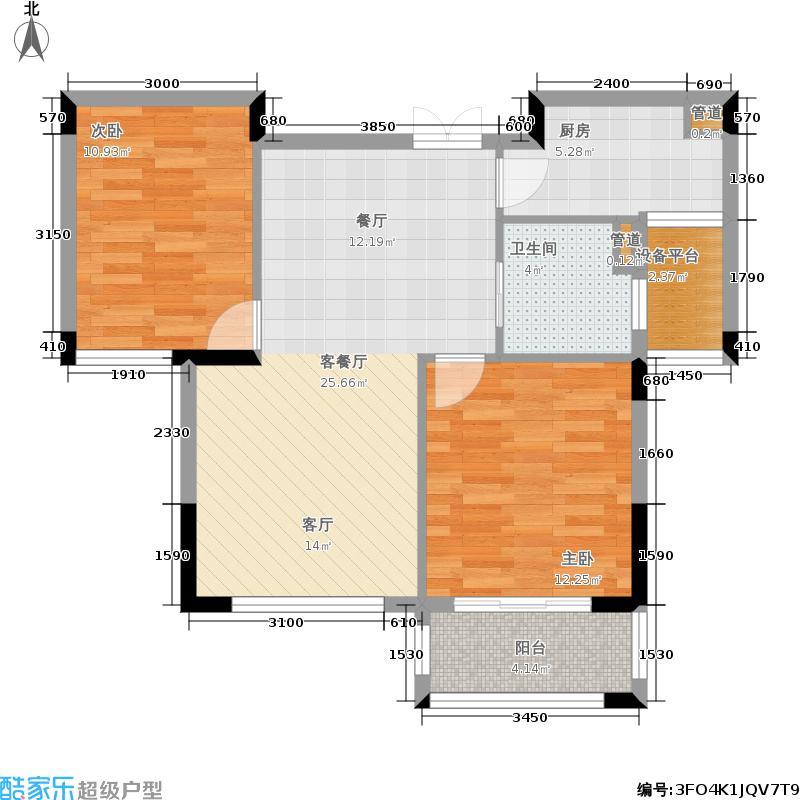 悦麒美寓89.00㎡B3偶数层户型2室2厅