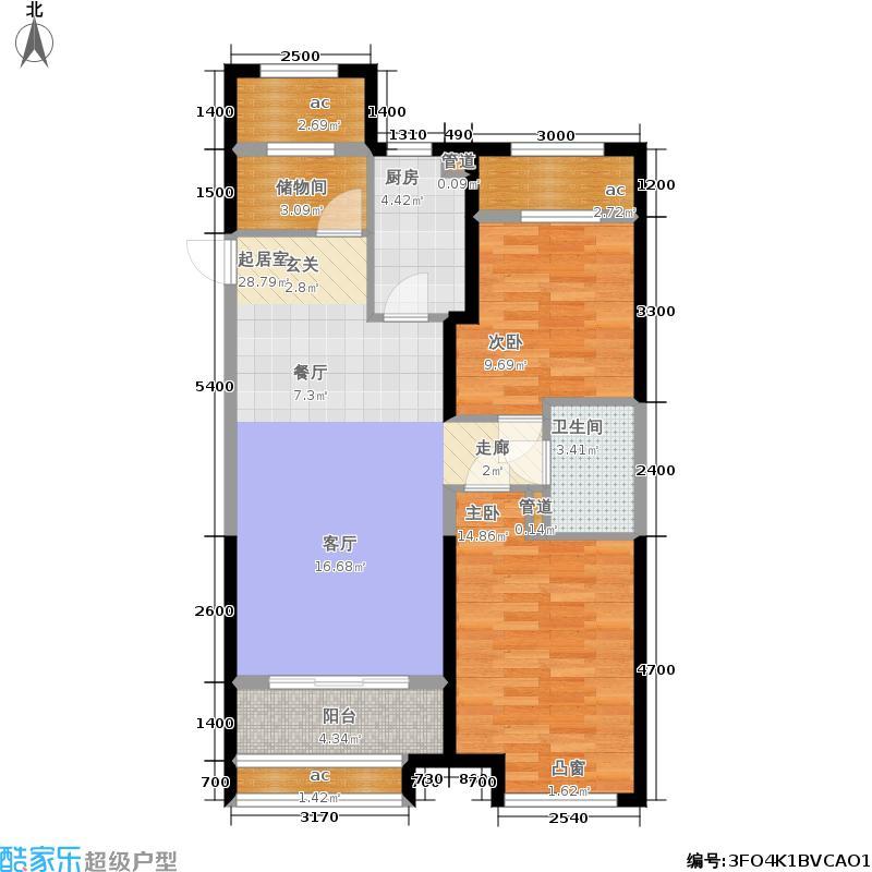 呼和浩特回民区万达广场10#、11#一单元东户2单元西户B12室户型
