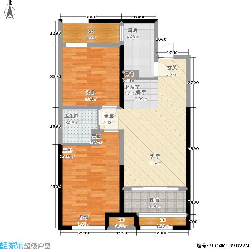 呼和浩特回民区万达广场10#、11#一单元二单元中户A12室户型
