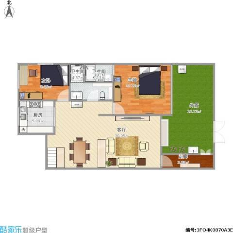 证大朱家角西镇2室1厅2卫1厨115.00㎡户型图