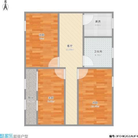 劲松南路小区3室1厅1卫1厨72.00㎡户型图
