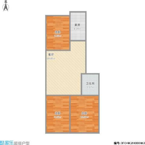 龙乡小区3室1厅1卫1厨74.00㎡户型图