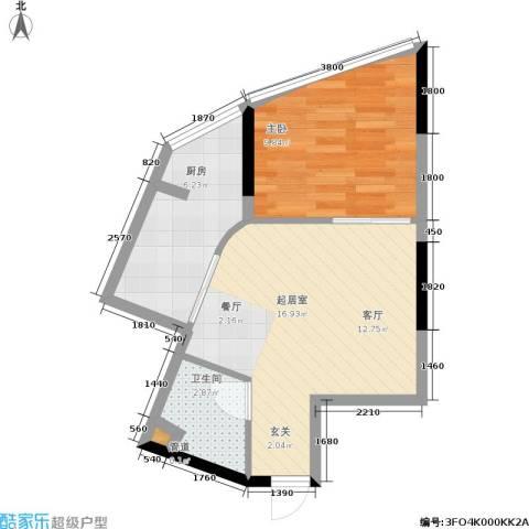 自由左岸1室0厅1卫1厨51.00㎡户型图