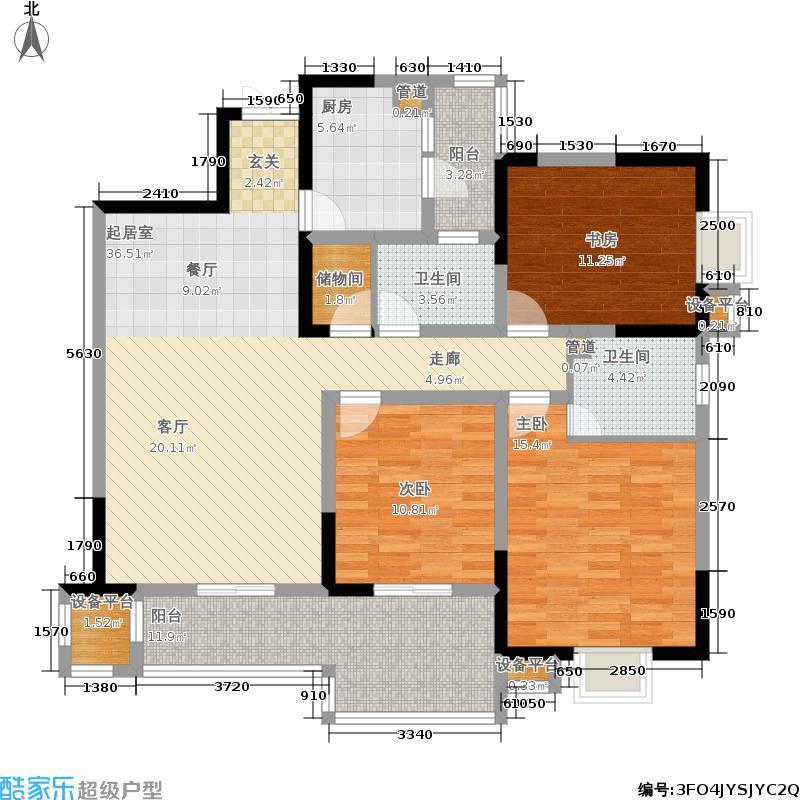 上海城三期天域112.41㎡一期21/23栋标准层2/3号房户型