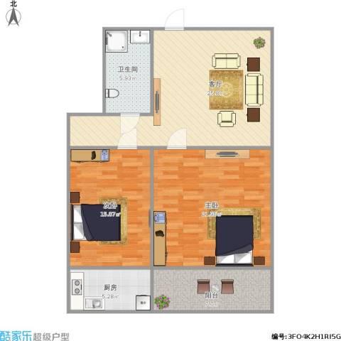建设路园丁小区2室1厅1卫1厨109.00㎡户型图