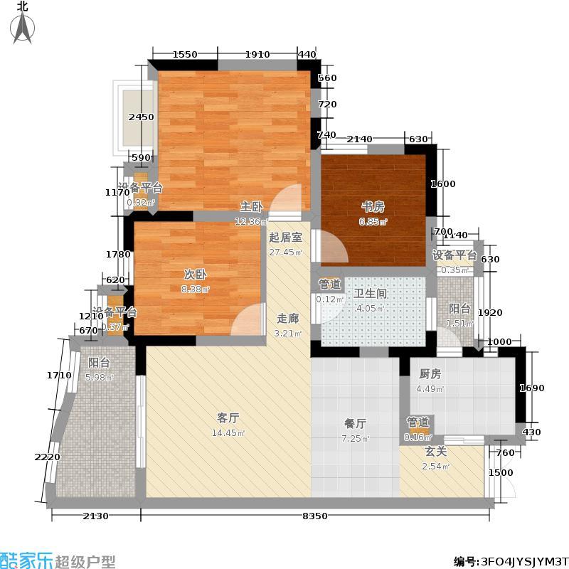 上海城三期天域78.23㎡一期13/15栋标准层2/5号房户型