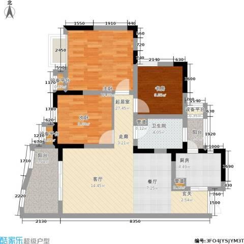 上海城三期天域3室0厅1卫1厨78.00㎡户型图