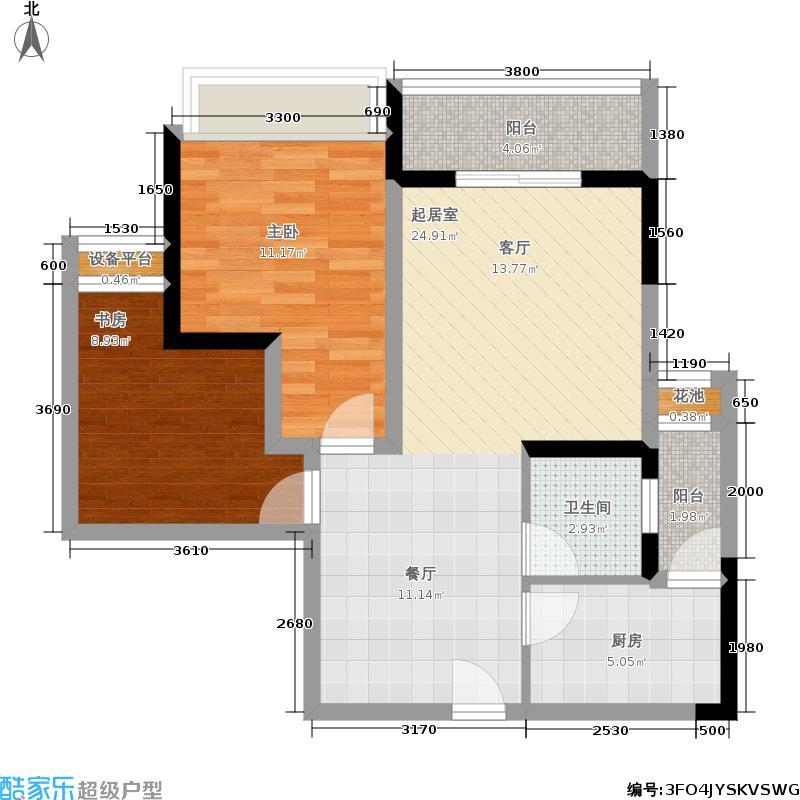 颜龙山水城80.00㎡二期7号楼标准层C户型