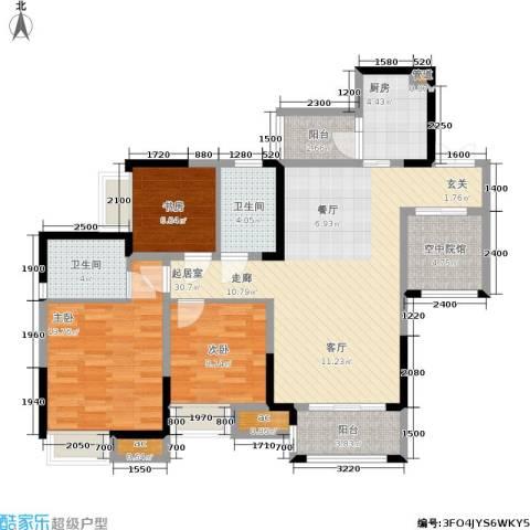 保利可爱岛3室0厅2卫1厨88.00㎡户型图