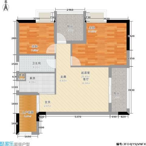 中冶重庆早晨2室0厅1卫1厨71.00㎡户型图