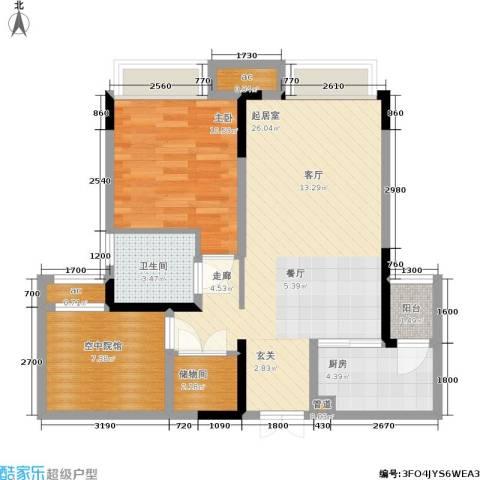 保利可爱岛1室0厅1卫1厨59.00㎡户型图