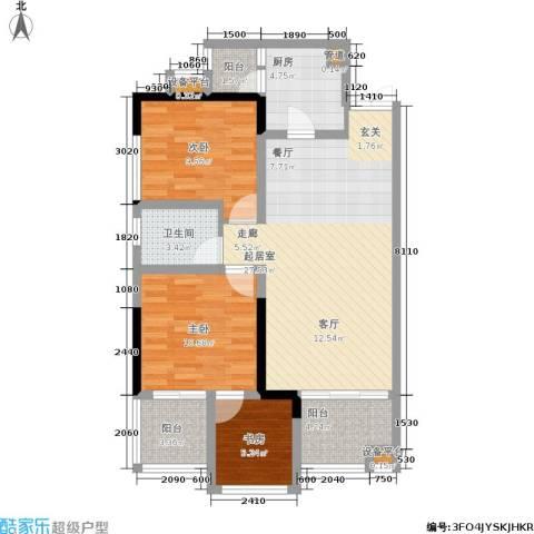 中冶重庆早晨3室0厅1卫1厨75.00㎡户型图
