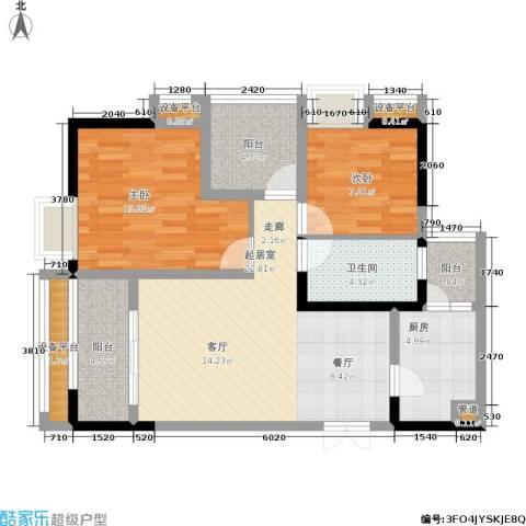 中冶重庆早晨2室0厅1卫1厨68.00㎡户型图