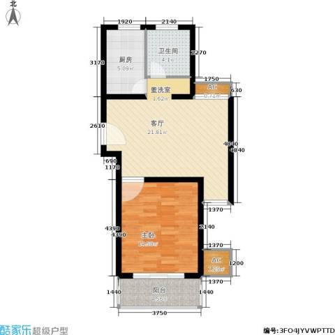 上大阳光乾和园1室1厅1卫1厨59.00㎡户型图