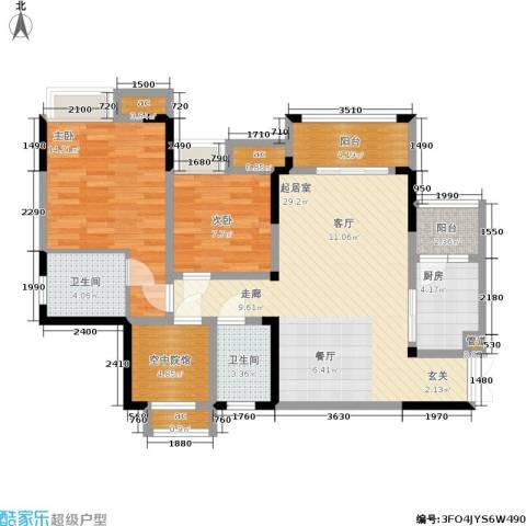 保利可爱岛2室0厅2卫1厨79.00㎡户型图