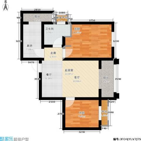 尚品美地城2室0厅1卫1厨80.00㎡户型图