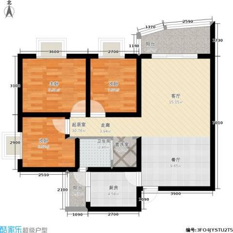 遵大蓝湖丽都3室0厅1卫1厨90.00㎡户型图