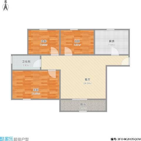 金硕河畔景园3室1厅1卫1厨93.00㎡户型图