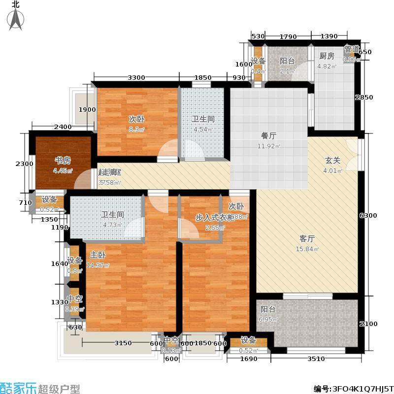 约克郡汀兰134.00㎡一期双卫双阳台C1户型3室2厅
