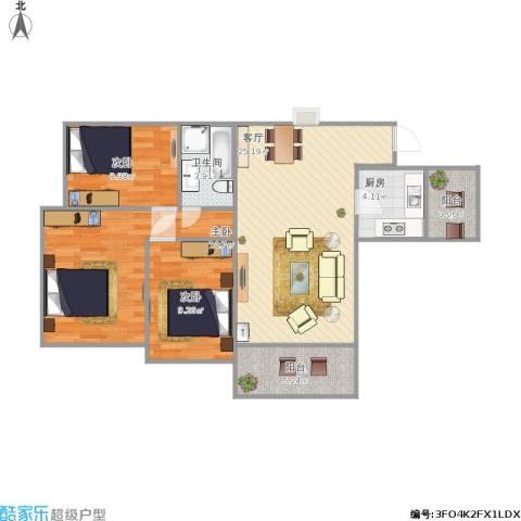 百合家园3室1厅1卫1厨100.00㎡户型图
