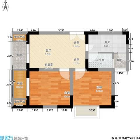 渝洲新城2室0厅1卫1厨48.00㎡户型图