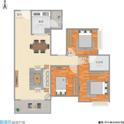 荔富湖畔3室1厅1卫1厨106.00㎡户型图