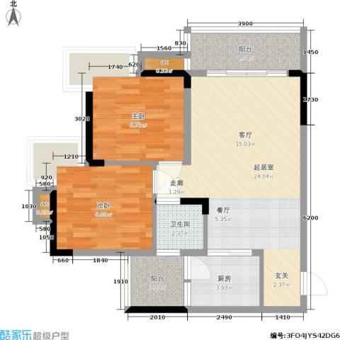达飞玖隆城2室0厅1卫1厨82.00㎡户型图