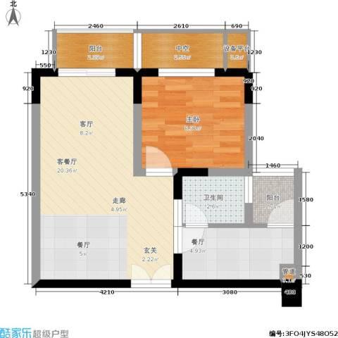 渝洲新城1室2厅1卫0厨47.00㎡户型图