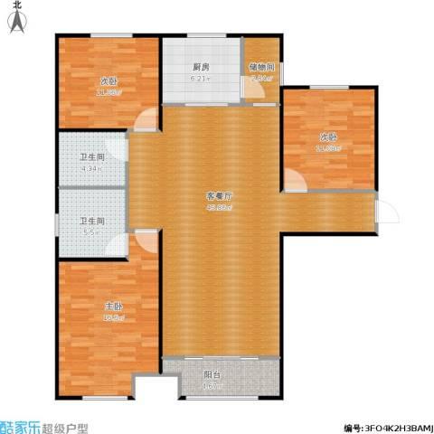 中海外滩3室1厅2卫1厨142.00㎡户型图