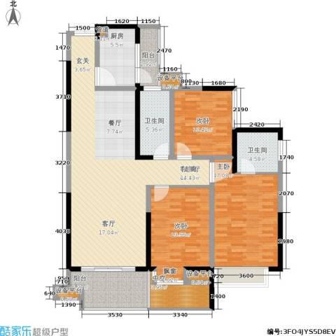 皇冠东和花园3室1厅2卫1厨126.00㎡户型图