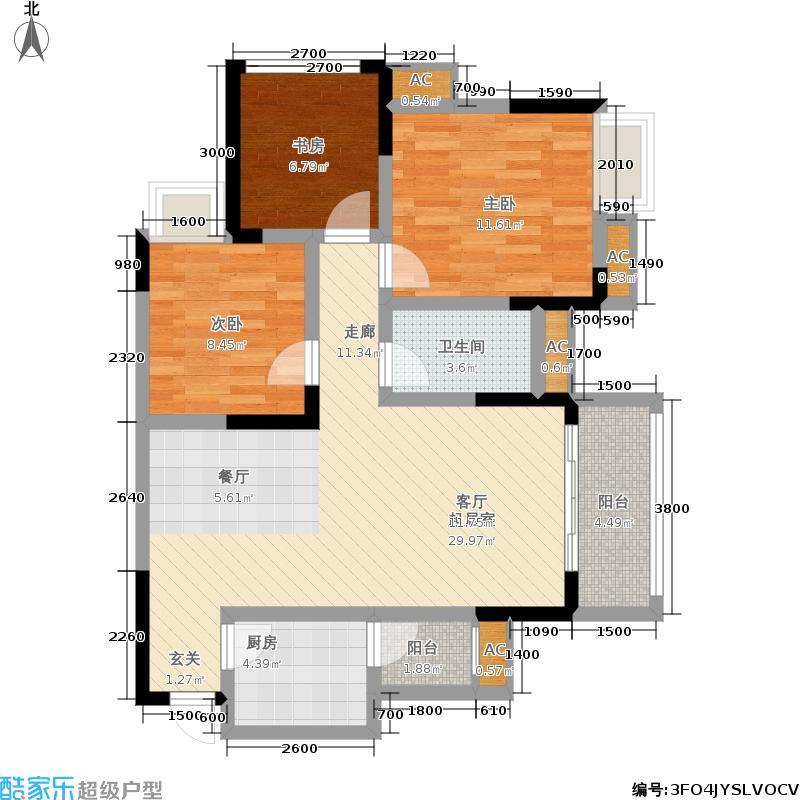 科艺花漾年97.85㎡二期花园电梯5号楼洋房标准层D7户型